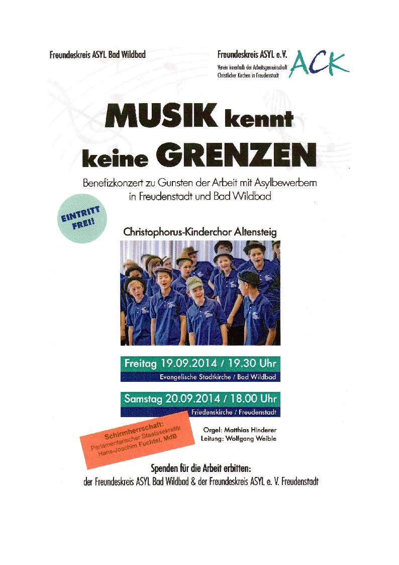 Plakat Benefizkonzerte Kinderchor Altensteig September 2014